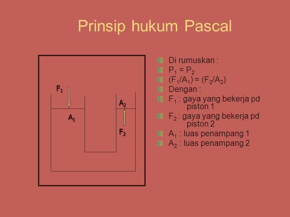 Prinsip hukum Pascal Di rumuskan : P 1 = P 2 (F 1 /A 1 ) = (F 2 /A 2 ) Dengan : F 1 : gaya yang bekerja pd piston 1 F 2 : gaya yang bekerja pd piston