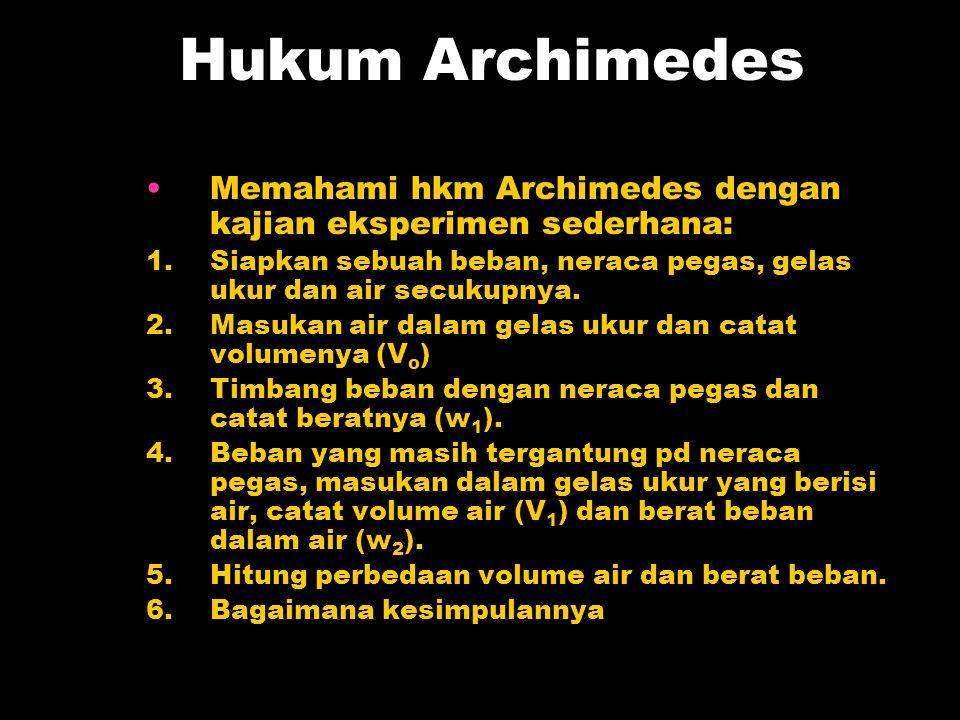 Hukum Archimedes Memahami hkm Archimedes dengan kajian eksperimen sederhana: 1.Siapkan sebuah beban, neraca pegas, gelas ukur dan air secukupnya. 2.Ma