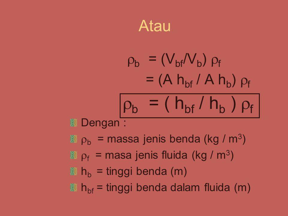 Atau  b = (V bf /V b )  f = (A h bf / A h b )  f  b = ( h bf / h b )  f Dengan :  b = massa jenis benda (kg / m 3 )  f = masa jenis fluida (kg