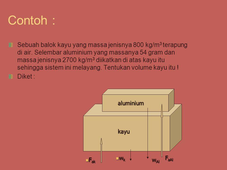Di tanya : volume kayu (V k ) Jawab :  F = 0 Fa k + Fa Al – w k – w Al = 0 Fa k + Fa Al = w k + w Al  f g V k +  f g V Al = m k g + m Al g  f V k +  f V Al = m k + m Al  f V k +  f (m Al /  Al ) =  k V k + m Al 1 V k + 1 (54/2,7) = 0,8 V k + 54 V k + 20 = 0,8 V k + 54 V k = 170 cm 3