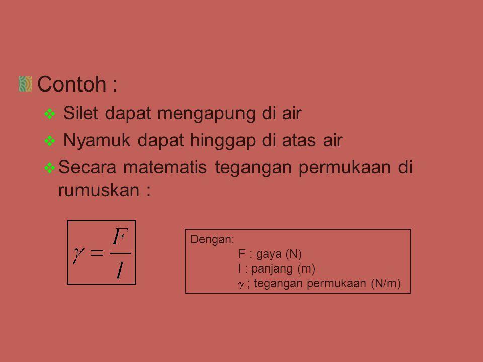 Contoh :  Silet dapat mengapung di air  Nyamuk dapat hinggap di atas air  Secara matematis tegangan permukaan di rumuskan : Dengan: F : gaya (N) l
