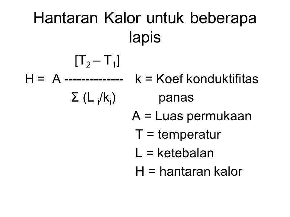 Hantaran Kalor untuk beberapa lapis [T 2 – T 1 ] H = A -------------- k = Koef konduktifitas Σ (L i /k i ) panas A = Luas permukaan T = temperatur L =