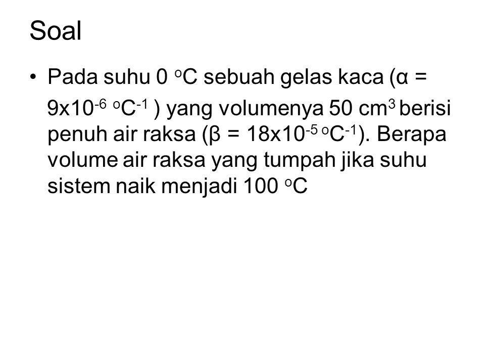 Soal Pada suhu 0 o C sebuah gelas kaca (α = 9x10 -6 o C -1 ) yang volumenya 50 cm 3 berisi penuh air raksa (β = 18x10 -5 o C -1 ). Berapa volume air r