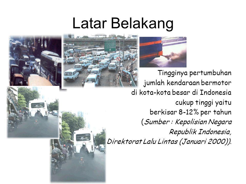 Latar Belakang Tingginya pertumbuhan jumlah kendaraan bermotor di kota-kota besar di Indonesia cukup tinggi yaitu berkisar 8-12% per tahun (Sumber : K