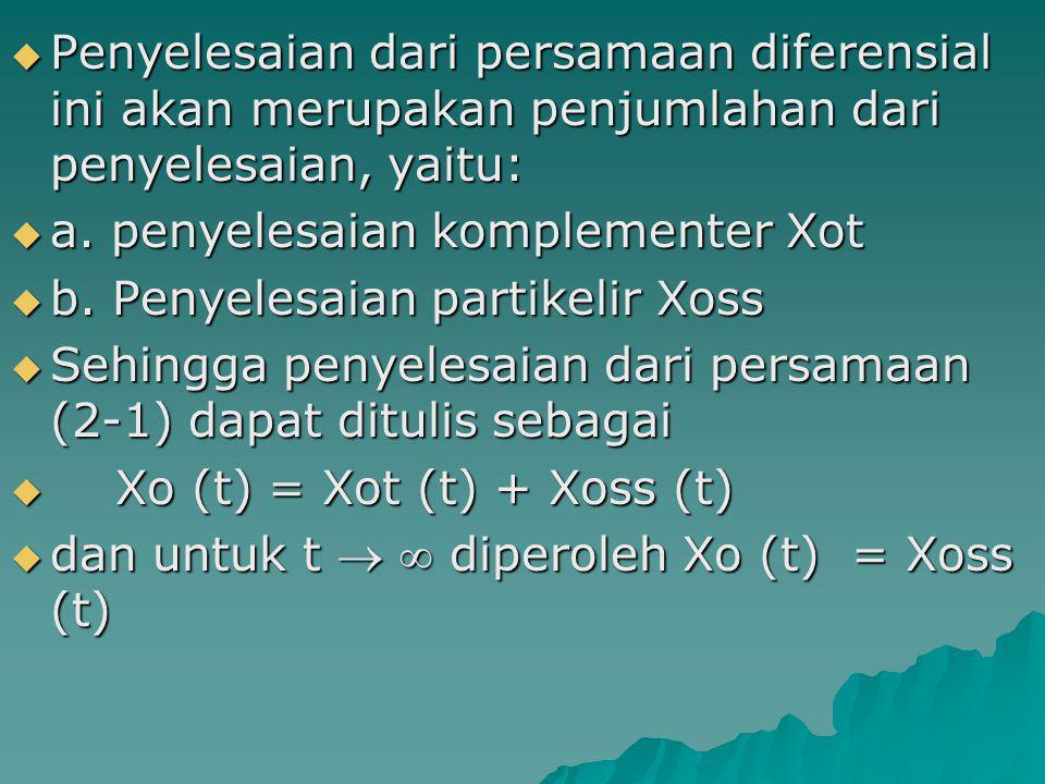  Penyelesaian dari persamaan diferensial ini akan merupakan penjumlahan dari penyelesaian, yaitu:  a. penyelesaian komplementer Xot  b. Penyelesaia