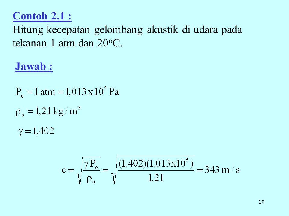10 Contoh 2.1 : Hitung kecepatan gelombang akustik di udara pada tekanan 1 atm dan 20 o C. Jawab :