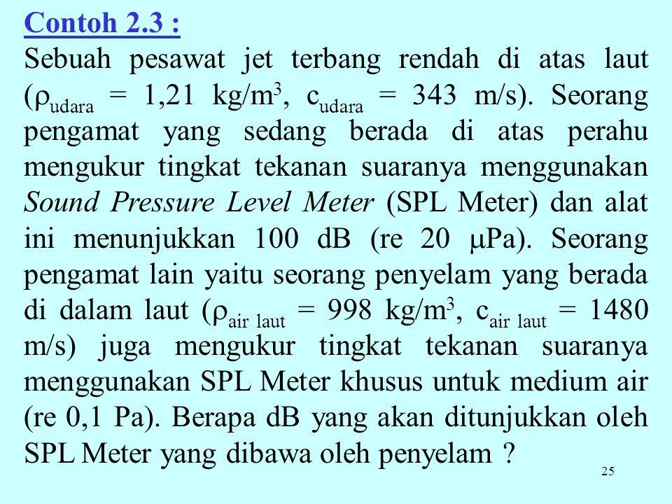 25 Contoh 2.3 : Sebuah pesawat jet terbang rendah di atas laut (  udara = 1,21 kg/m 3, c udara = 343 m/s). Seorang pengamat yang sedang berada di ata