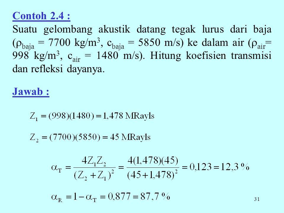 31 Contoh 2.4 : Suatu gelombang akustik datang tegak lurus dari baja (  baja = 7700 kg/m 3, c baja = 5850 m/s) ke dalam air (  air = 998 kg/m 3, c air = 1480 m/s).