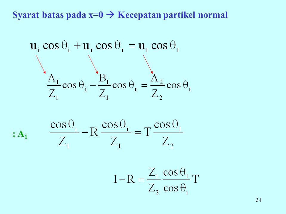 34 Syarat batas pada x=0  Kecepatan partikel normal : A 1