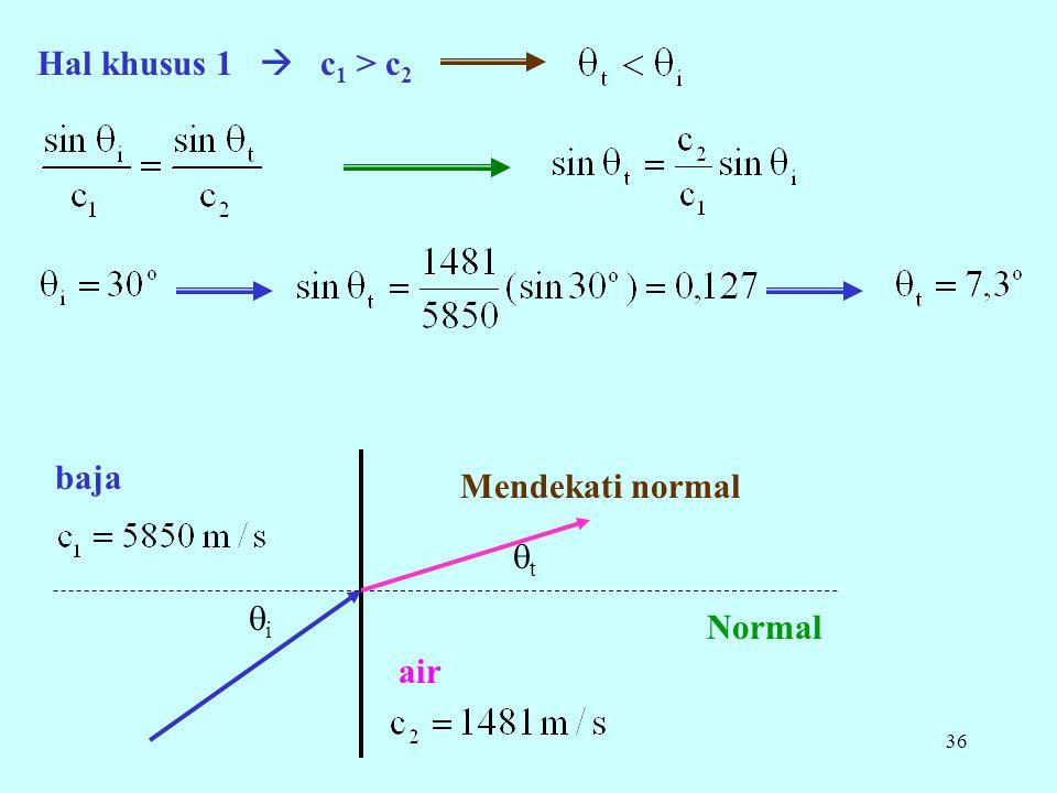 36 Hal khusus 1  c 1 > c 2 Mendekati normal Normal baja air tt ii