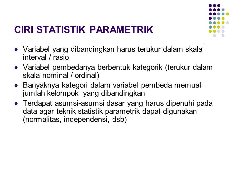 CIRI STATISTIK PARAMETRIK Variabel yang dibandingkan harus terukur dalam skala interval / rasio Variabel pembedanya berbentuk kategorik (terukur dalam skala nominal / ordinal) Banyaknya kategori dalam variabel pembeda memuat jumlah kelompok yang dibandingkan Terdapat asumsi-asumsi dasar yang harus dipenuhi pada data agar teknik statistik parametrik dapat digunakan (normalitas, independensi, dsb)