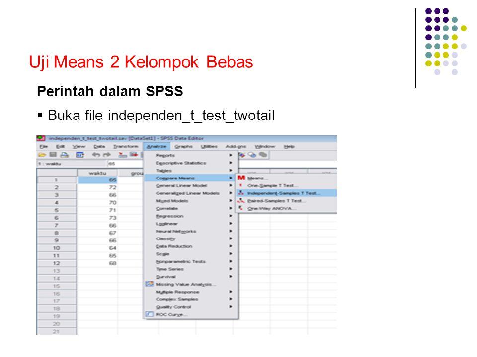 Uji Means 2 Kelompok Bebas Perintah dalam SPSS  Buka file independen_t_test_twotail