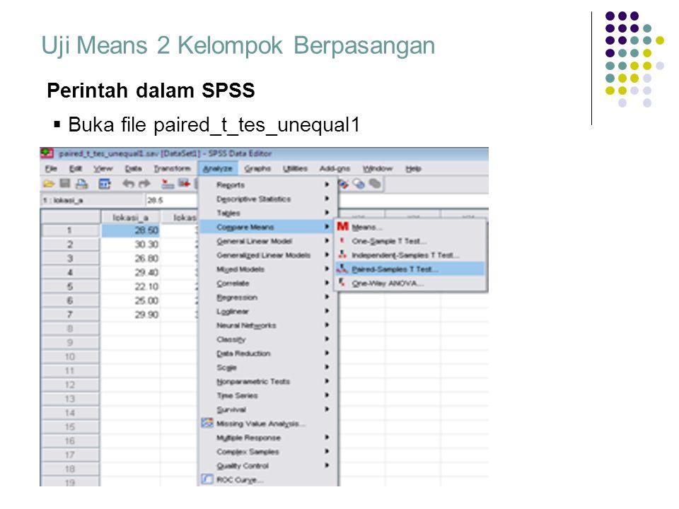 Uji Means 2 Kelompok Berpasangan Perintah dalam SPSS  Buka file paired_t_tes_unequal1