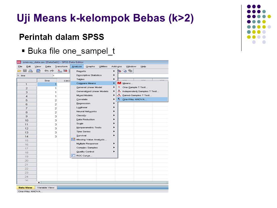 Uji Means k-kelompok Bebas (k>2) Perintah dalam SPSS  Buka file one_sampel_t