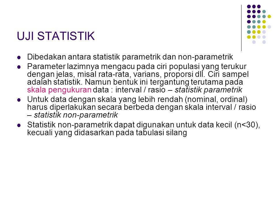 UJI STATISTIK Dibedakan antara statistik parametrik dan non-parametrik Parameter lazimnya mengacu pada ciri populasi yang terukur dengan jelas, misal rata-rata, varians, proporsi dll.