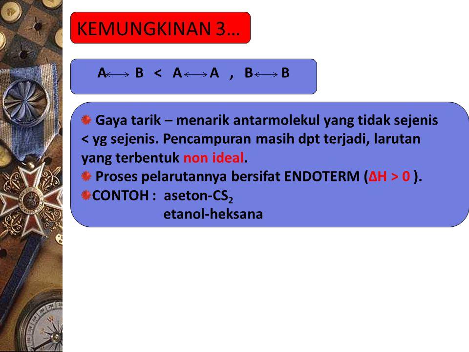KEMUNGKINAN 3… A B < A A, B B Gaya tarik – menarik antarmolekul yang tidak sejenis < yg sejenis.