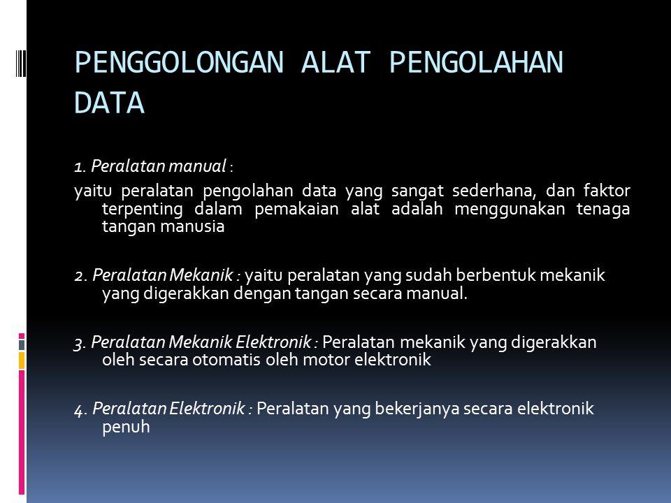 PENGGOLONGAN ALAT PENGOLAHAN DATA 1.