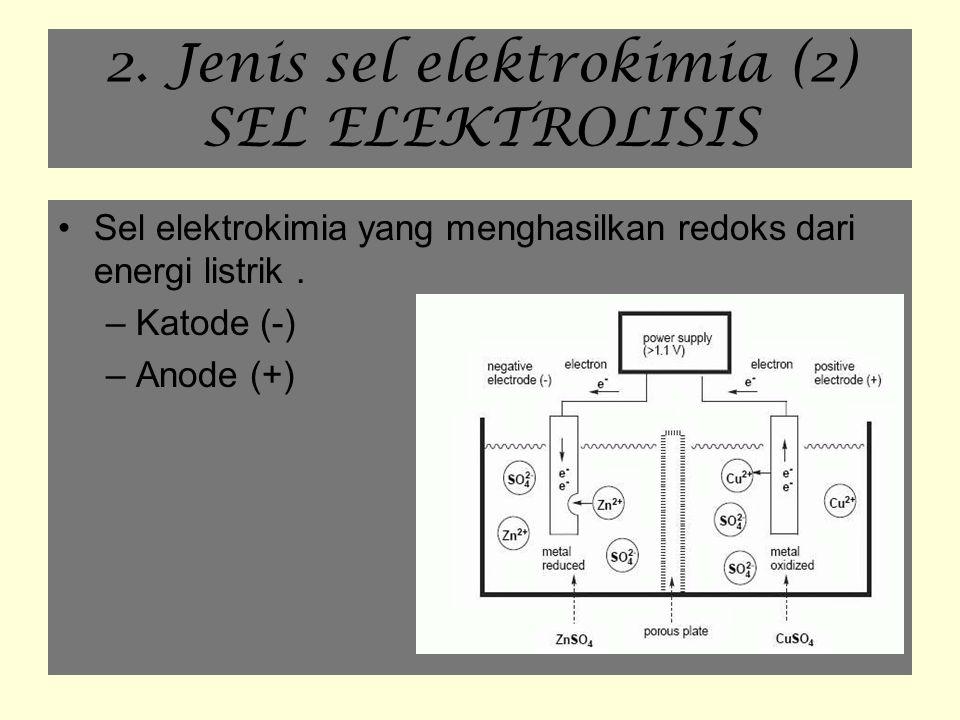 2. Jenis sel elektrokimia (2) SEL ELEKTROLISIS Sel elektrokimia yang menghasilkan redoks dari energi listrik. –Katode (-) –Anode (+)