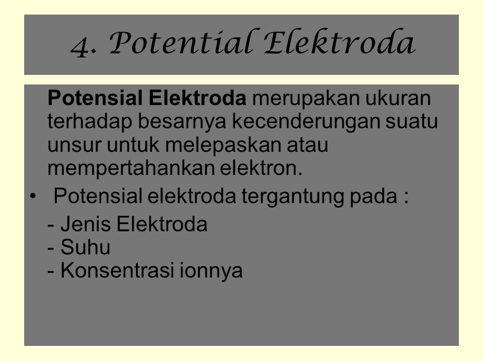 4. Potential Elektroda Potensial Elektroda merupakan ukuran terhadap besarnya kecenderungan suatu unsur untuk melepaskan atau mempertahankan elektron.