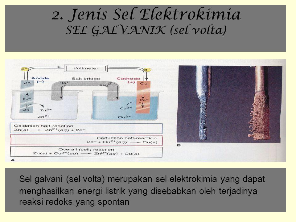 2. Jenis Sel Elektrokimia SEL GALVANIK (sel volta) Sel galvani (sel volta) merupakan sel elektrokimia yang dapat menghasilkan energi listrik yang dise
