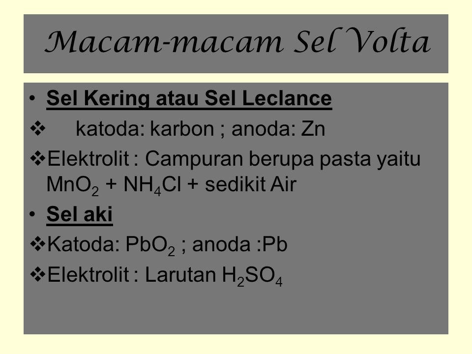 Macam-macam Sel Volta ( 2) Sel bahan bakar  Elektoda : Ni  Elektrolit :Larutan KOH  Bahan bakar : H 2 dan O 2 Baterai Ni-Cd  Katoda : NiO 2 dengan sedikit air  Anoda : Cd