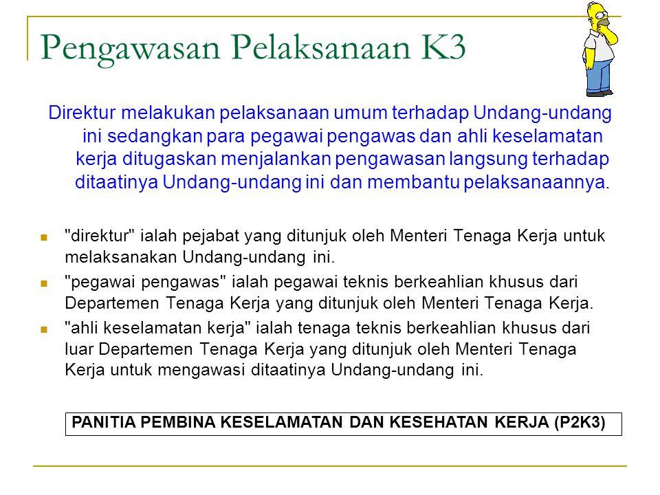 Lingkup Syarat Penerapan K3 Dengan peraturan perundangan ditetapkan syarat-syarat keselamatan kerja dalam perencanaan, pembuatan, pengangkutan, pereda