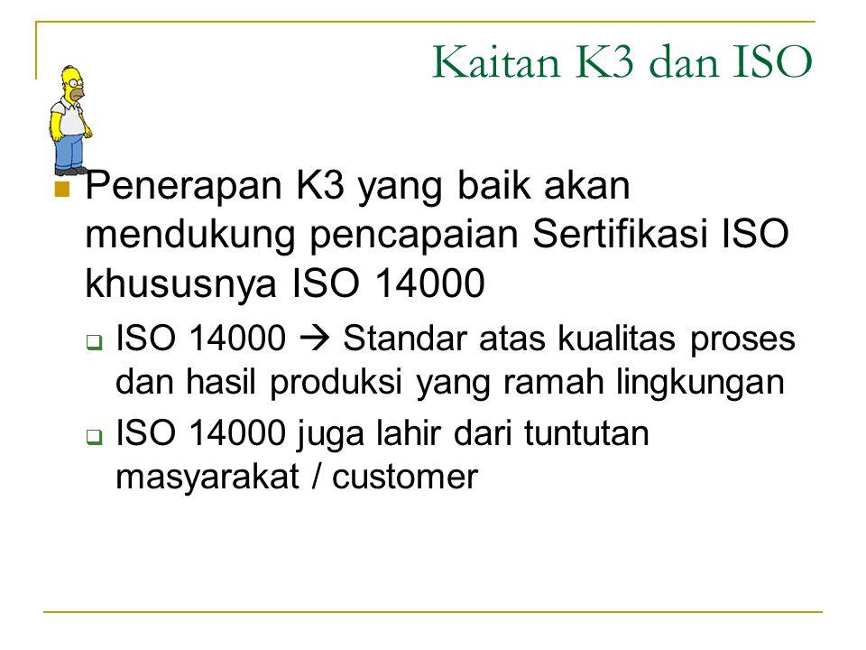 Kaitan K3 dan HSE Keduanya mengacu pada hal yang sama  K3  Kesehatan & Keselamatan Kerja  HSE  Health & Safety Environment K3 lahir dari tuntutan