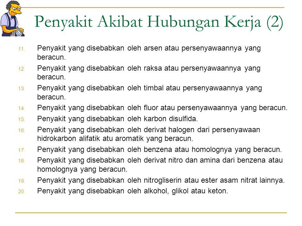 Penyakit Akibat Hubungan Kerja (1) 1. Pnemokoniosis yang disebabkan debu mineral pembentuk jaringan parut (silikosis, antrakosilikosis, asbestosis) da