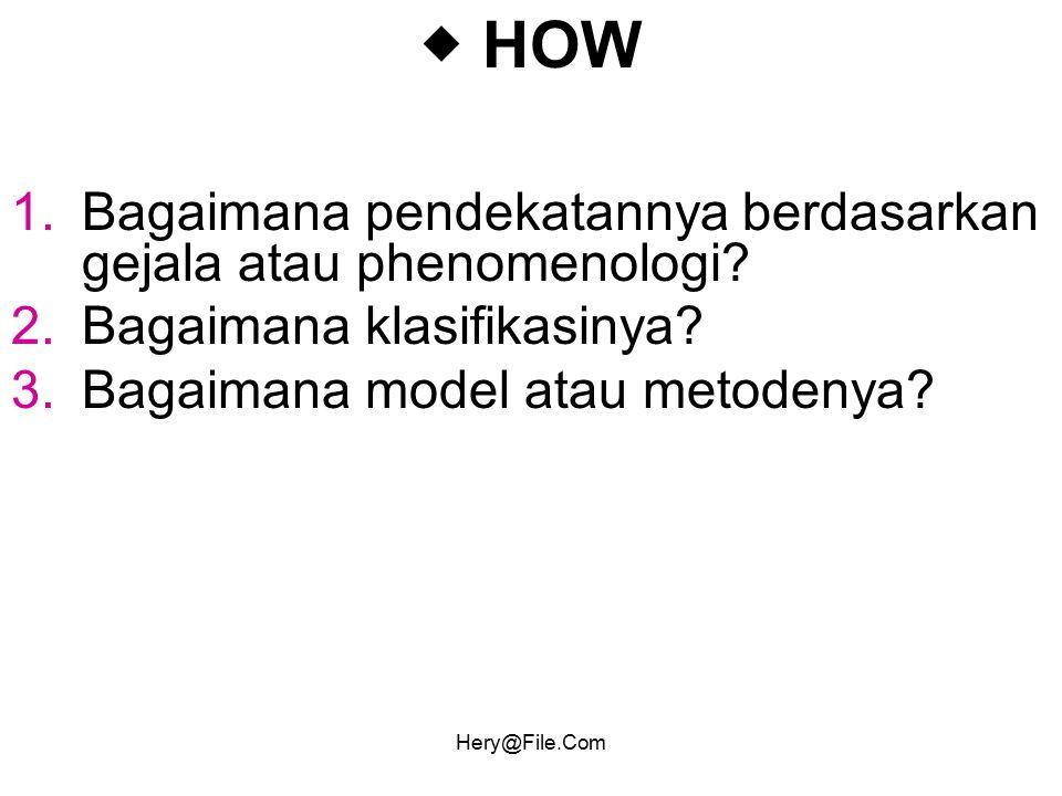 Hery@File.Com  HOW 1.Bagaimana pendekatannya berdasarkan gejala atau phenomenologi? 2.Bagaimana klasifikasinya? 3.Bagaimana model atau metodenya?