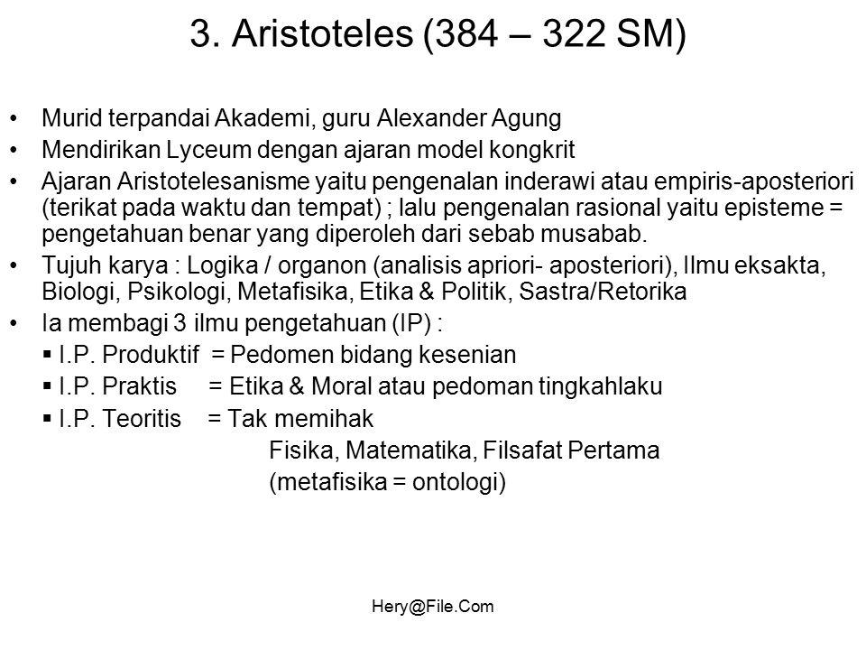 Hery@File.Com 3. Aristoteles (384 – 322 SM) Murid terpandai Akademi, guru Alexander Agung Mendirikan Lyceum dengan ajaran model kongkrit Ajaran Aristo