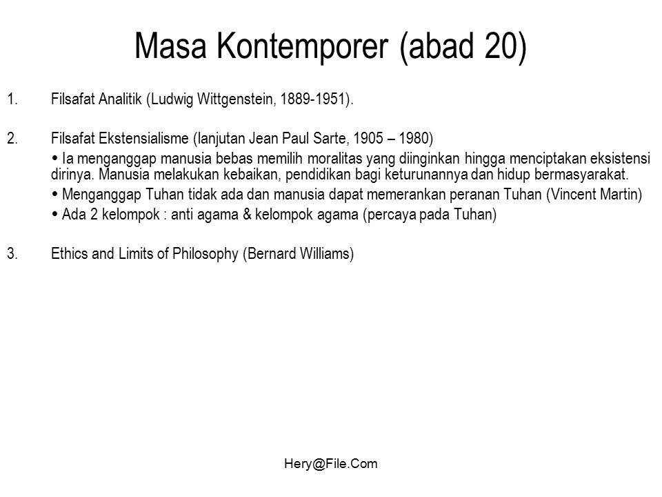 Hery@File.Com Masa Kontemporer (abad 20) 1.Filsafat Analitik (Ludwig Wittgenstein, 1889-1951). 2.Filsafat Ekstensialisme (lanjutan Jean Paul Sarte, 19