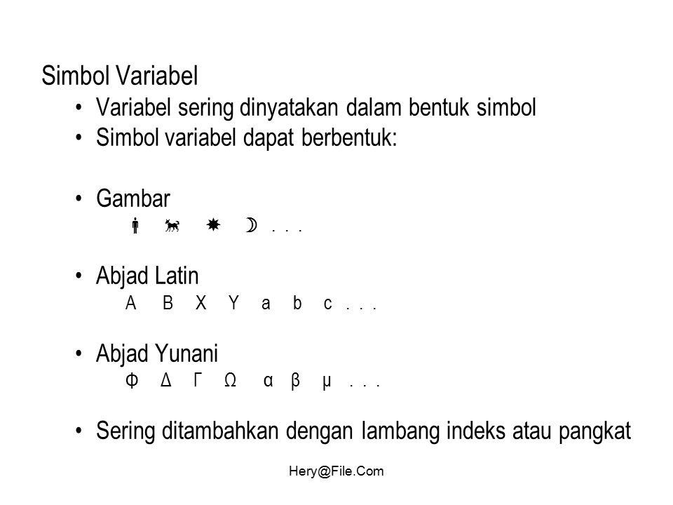 Hery@File.Com Simbol Variabel Variabel sering dinyatakan dalam bentuk simbol Simbol variabel dapat berbentuk: Gambar    ... Abjad Latin A B X Y a