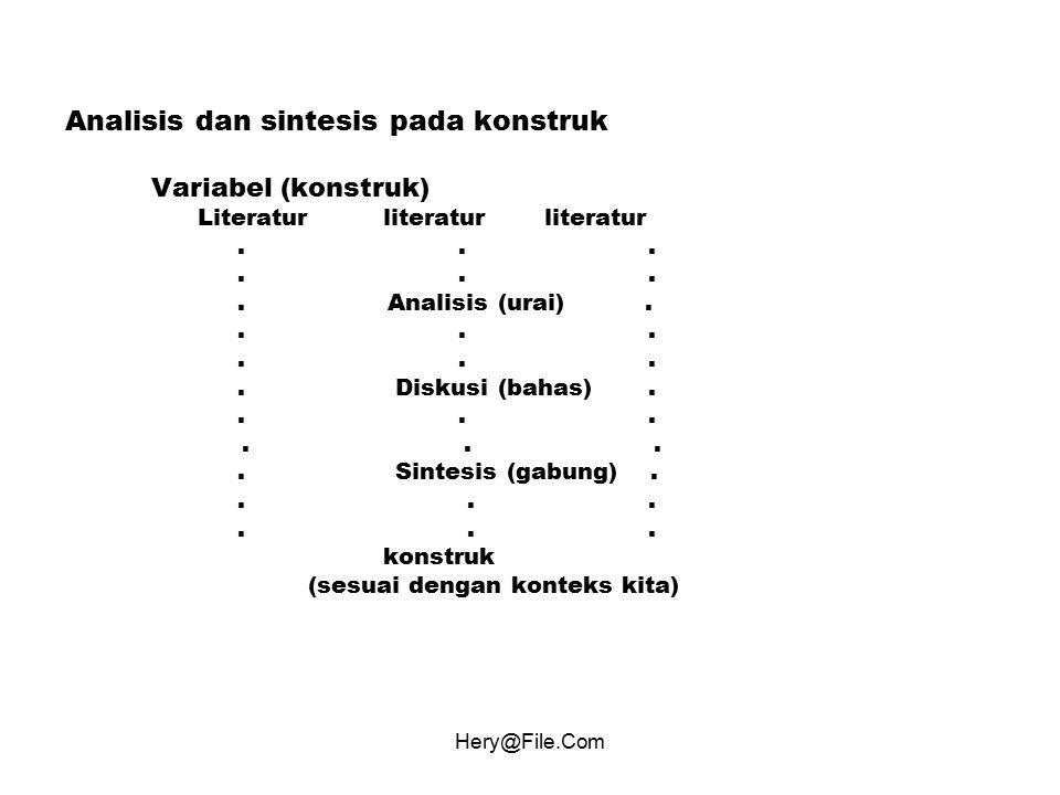 Hery@File.Com Analisis dan sintesis pada konstruk Variabel (konstruk) Literaturliteratur literatur.... Analisis (urai)..... Diskusi (bahas)..... Sinte