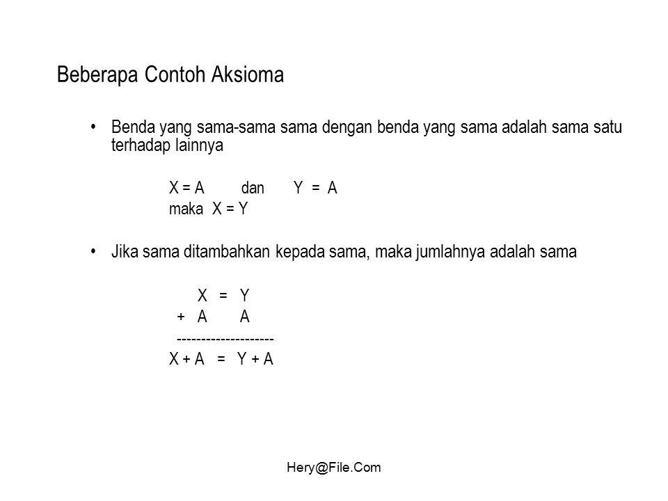 Hery@File.Com Beberapa Contoh Aksioma Benda yang sama-sama sama dengan benda yang sama adalah sama satu terhadap lainnya X = A dan Y = A maka X = Y Ji