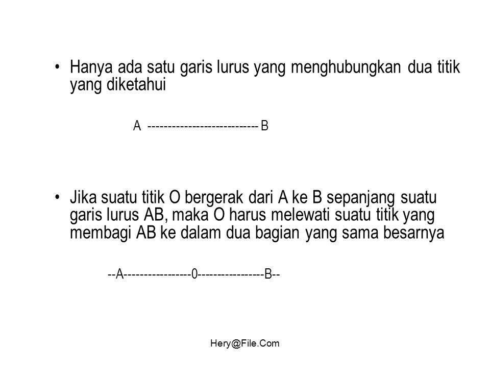 Hery@File.Com Hanya ada satu garis lurus yang menghubungkan dua titik yang diketahui A ---------------------------- B Jika suatu titik O bergerak dari