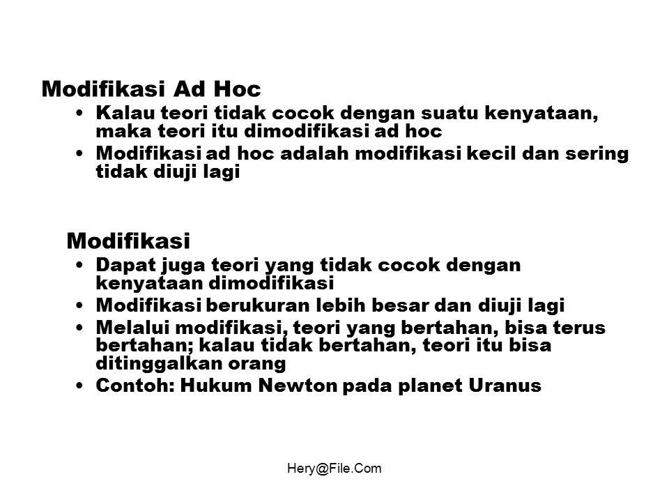 Hery@File.Com Modifikasi Ad Hoc Kalau teori tidak cocok dengan suatu kenyataan, maka teori itu dimodifikasi ad hoc Modifikasi ad hoc adalah modifikasi