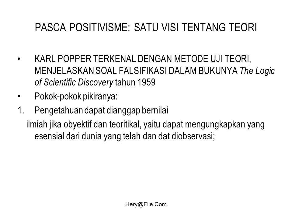 Hery@File.Com PASCA POSITIVISME: SATU VISI TENTANG TEORI KARL POPPER TERKENAL DENGAN METODE UJI TEORI, MENJELASKAN SOAL FALSIFIKASI DALAM BUKUNYA The