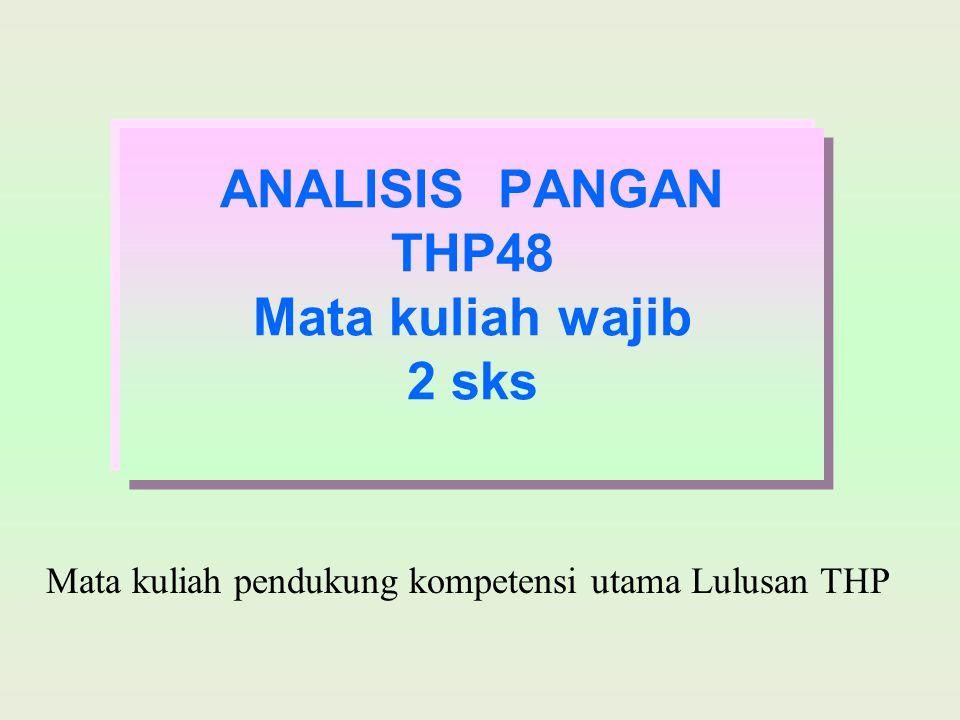 ANALISIS PANGAN THP48 Mata kuliah wajib 2 sks Mata kuliah pendukung kompetensi utama Lulusan THP