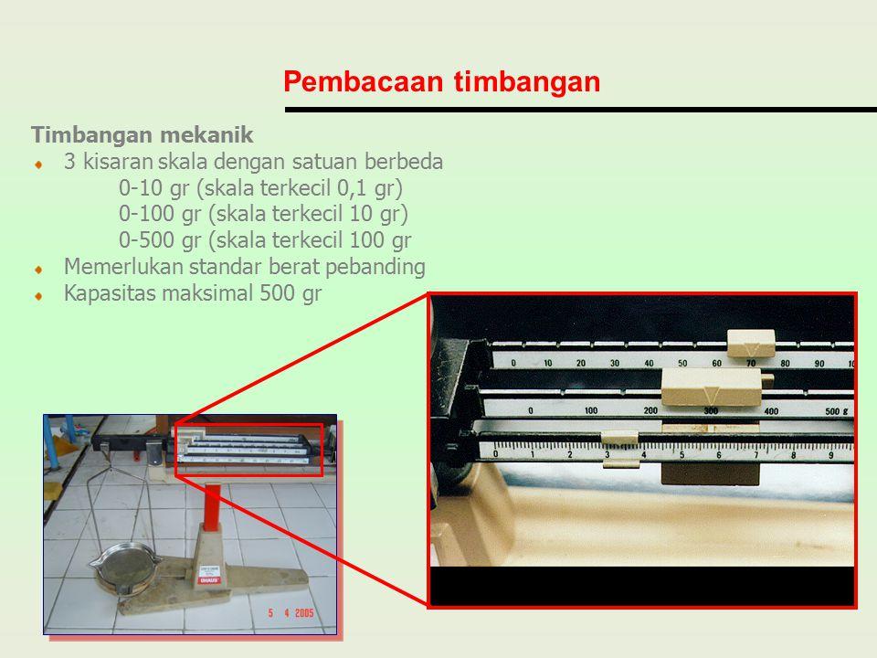 Timbangan mekanik 3 kisaran skala dengan satuan berbeda 0-10 gr (skala terkecil 0,1 gr) 0-100 gr (skala terkecil 10 gr) 0-500 gr (skala terkecil 100 g