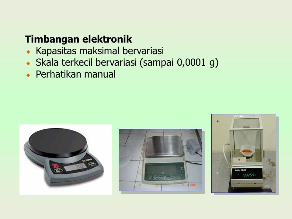 Timbangan elektronik Kapasitas maksimal bervariasi Skala terkecil bervariasi (sampai 0,0001 g) Perhatikan manual