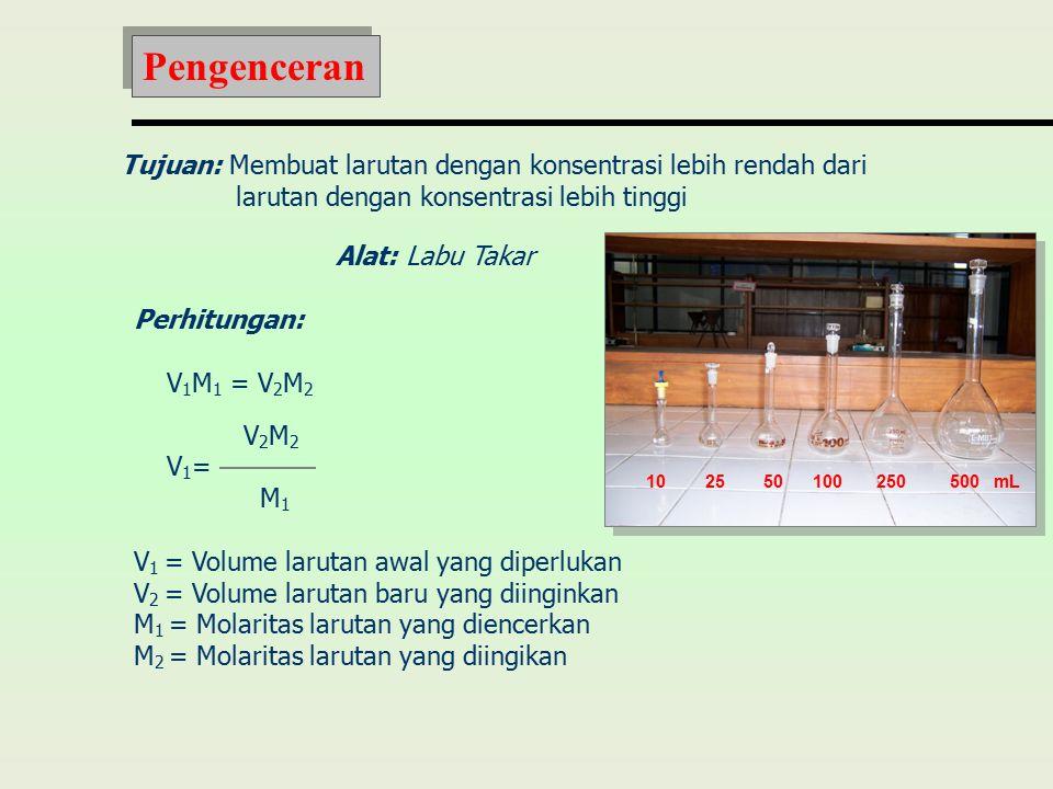 Tujuan: Membuat larutan dengan konsentrasi lebih rendah dari larutan dengan konsentrasi lebih tinggi Alat: Labu Takar Perhitungan: V 1 M 1 = V 2 M 2 V