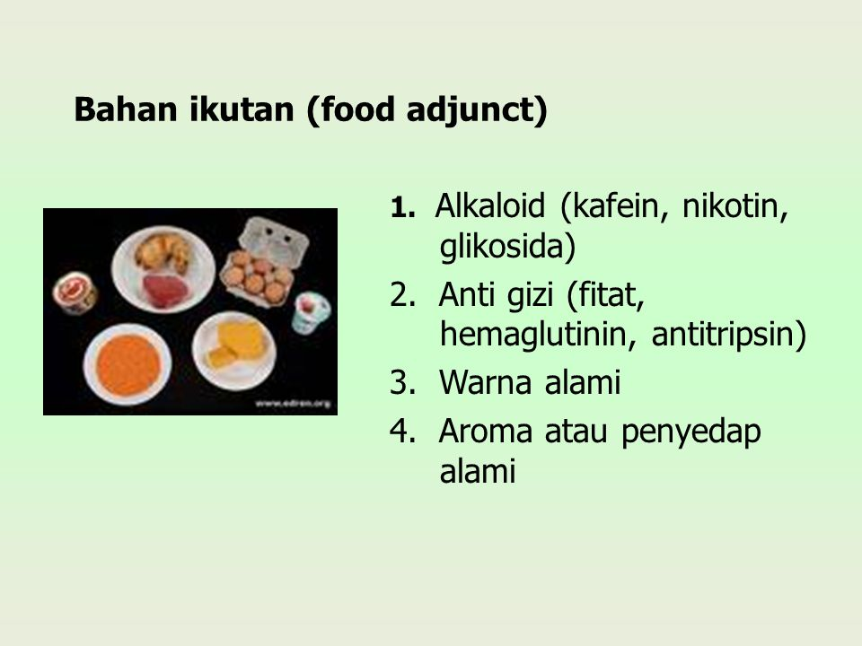 Bahan ikutan (food adjunct) 1. Alkaloid (kafein, nikotin, glikosida) 2. Anti gizi (fitat, hemaglutinin, antitripsin) 3. Warna alami 4. Aroma atau peny