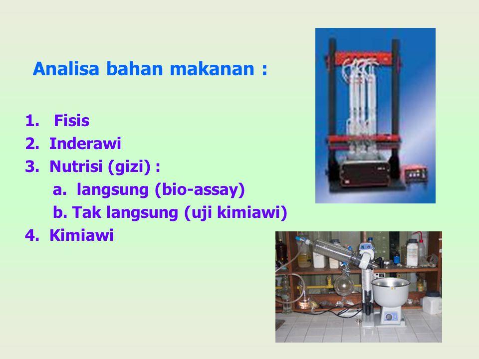Analisa bahan makanan : 1. Fisis 2. Inderawi 3. Nutrisi (gizi) : a. langsung (bio-assay) b. Tak langsung (uji kimiawi) 4. Kimiawi