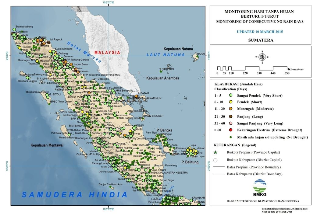 MONITORING HARI TANPA HUJAN BERTURUT-TURUT KALIMANTAN UPDATED 10 MARET 2015 Sangat Pendek (1 – 5) Hari Pendek (6 – 10) Hari Menengah (11 – 20) Hari Panjang (21 - 30) Hari Sangat Panjang (31 - 60) Hari Kekeringan Ekstrim (> 60) Hari Muaratewe/Beringin Nanga Pinoh Nunukan Pangkalan Bun Putu Sibau Sampit/Haji Hasan Sanggu Buntok Tarakan Alalak/ Handil Bakti Amuntai Utara/ T.