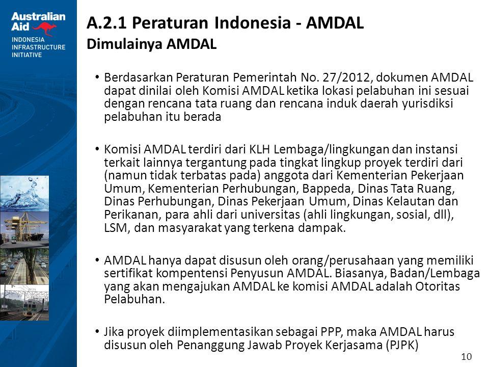 10 A.2.1 Peraturan Indonesia - AMDAL Dimulainya AMDAL Berdasarkan Peraturan Pemerintah No. 27/2012, dokumen AMDAL dapat dinilai oleh Komisi AMDAL keti