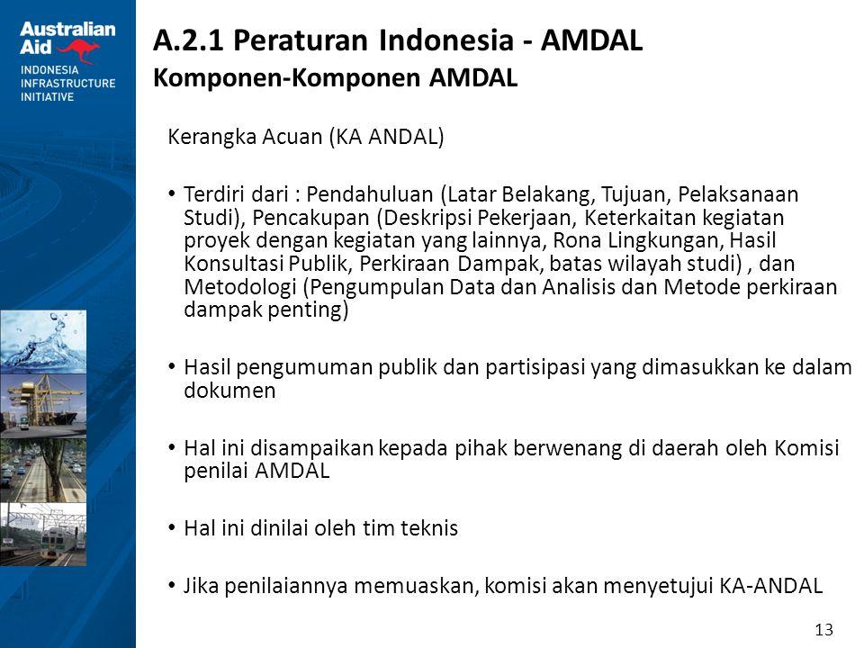 13 A.2.1 Peraturan Indonesia - AMDAL Komponen-Komponen AMDAL Kerangka Acuan (KA ANDAL) Terdiri dari : Pendahuluan (Latar Belakang, Tujuan, Pelaksanaan