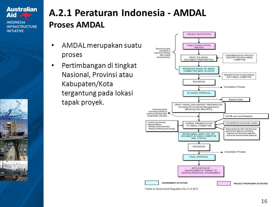 16 A.2.1 Peraturan Indonesia - AMDAL Proses AMDAL AMDAL merupakan suatu proses Pertimbangan di tingkat Nasional, Provinsi atau Kabupaten/Kota tergantu