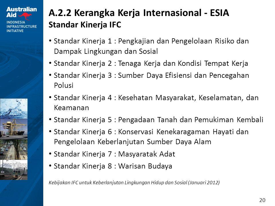 20 A.2.2 Kerangka Kerja Internasional - ESIA Standar Kinerja IFC Standar Kinerja 1 : Pengkajian dan Pengelolaan Risiko dan Dampak Lingkungan dan Sosia