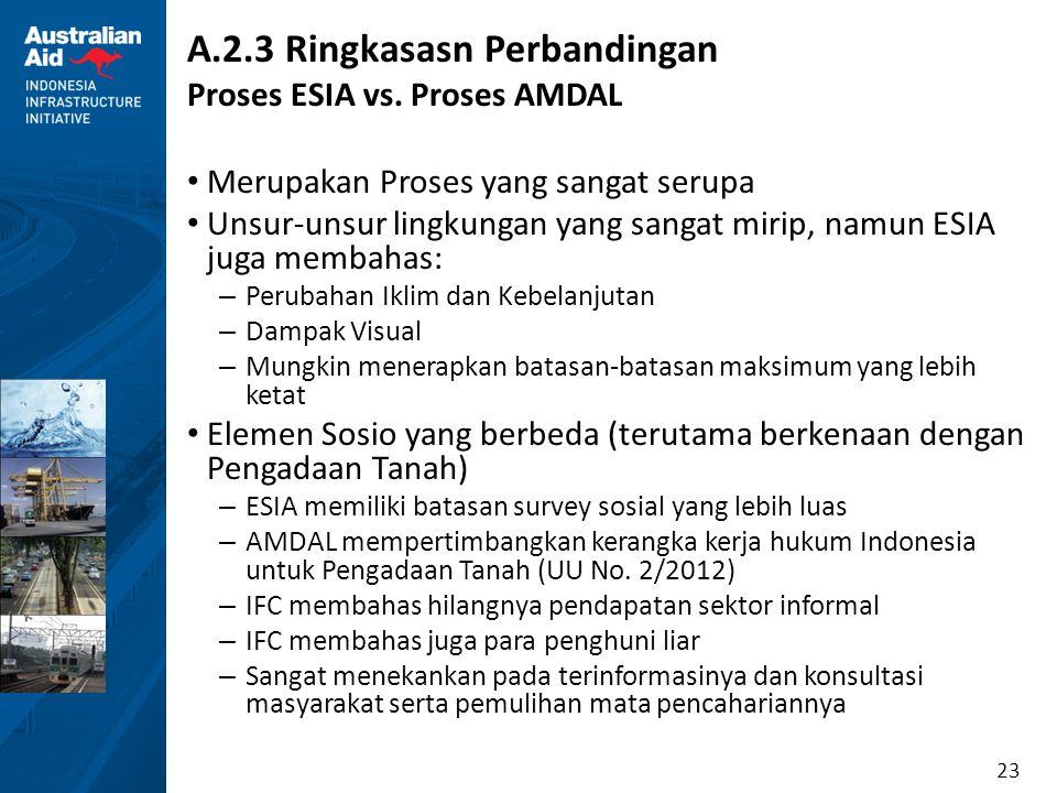 23 A.2.3 Ringkasasn Perbandingan Proses ESIA vs. Proses AMDAL Merupakan Proses yang sangat serupa Unsur-unsur lingkungan yang sangat mirip, namun ESIA