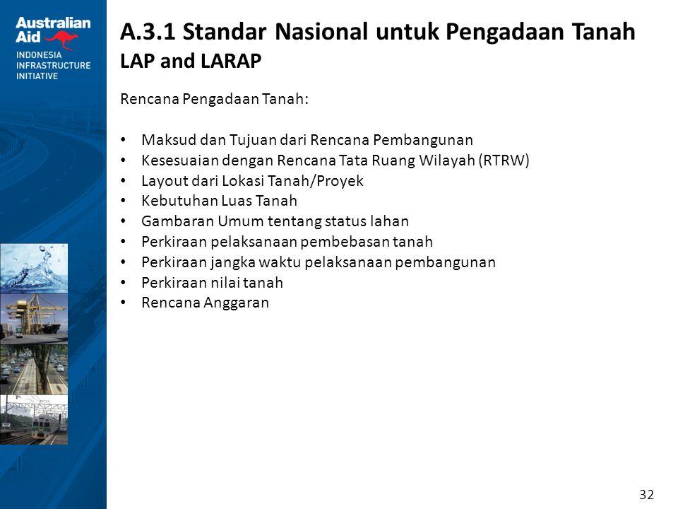 32 A.3.1 Standar Nasional untuk Pengadaan Tanah LAP and LARAP Rencana Pengadaan Tanah: Maksud dan Tujuan dari Rencana Pembangunan Kesesuaian dengan Re